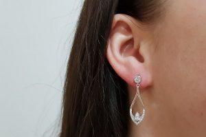 Srebrni ženski uhani s cirkoni kapljica viseči