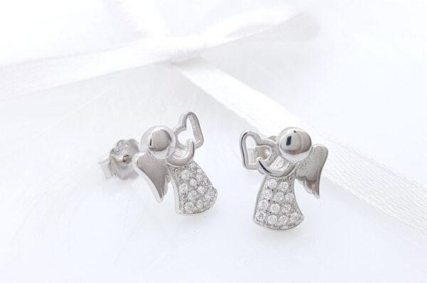 Srebrni otroški uhani angel s cirkoni