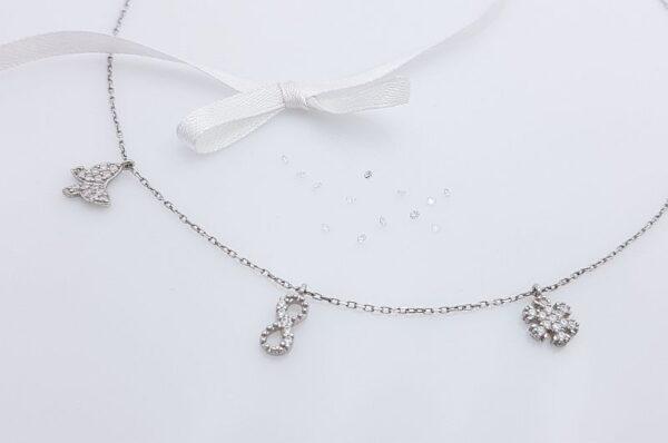 Srebrna ženska verižica, neskončnost, metulj, snežinka s cirkoni