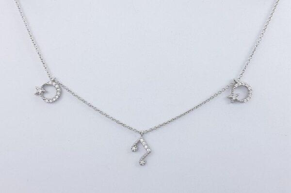Srebrna ženska verižica, luna, zvezda, nota s cirkoni