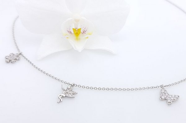 Srebrna ženska verižica, metulj, zvončica, snežinka s cirkoni