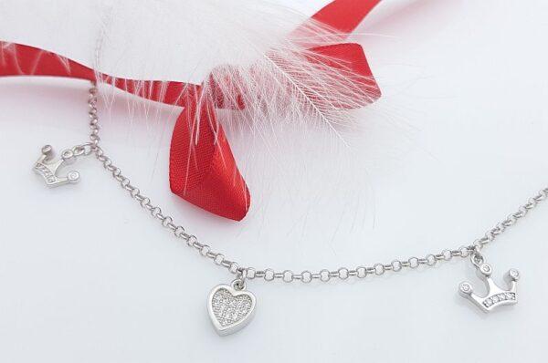 Srebrna ženska verižica, obeski s cirkoni, srce, krona