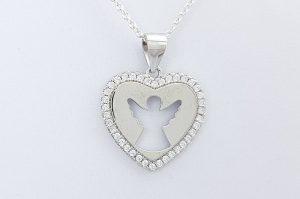 Srebrn ženski obesek s cirkoni srce z angelom