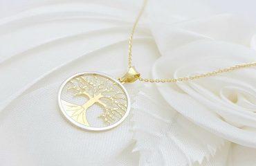 Drevo življenja, v kombinaciji rumenega in belega zlata
