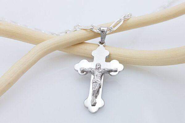 Srebrn moški obesek pravoslavni križ z Jezusom