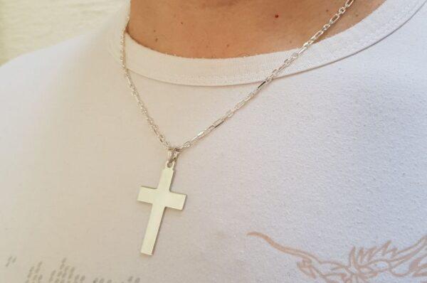 Srebrn moški obesek gladek križ