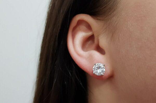 Srebrni ženski uhani okrogel cirkon 8 mm