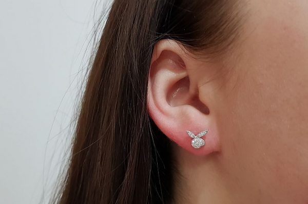 Srebrni ženski uhani s cirkoni Playboy zajček