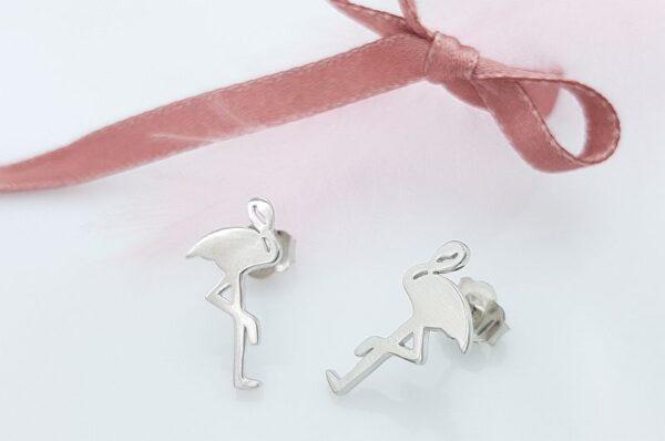 Srebrni ženski uhani flamingo
