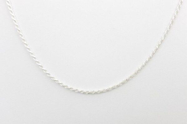 Srebrna ženska verižica, diamantiran valis