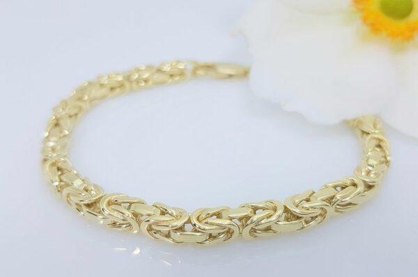 Moška ali ženska zapestnica iz rumenega zlata, kraljevi vez