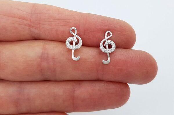 Srebrni ženski uhani s cirkoni, violinski ključ