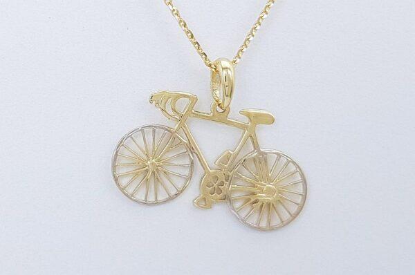 Ženski ali moški obesek iz rumenega zlata. kolo