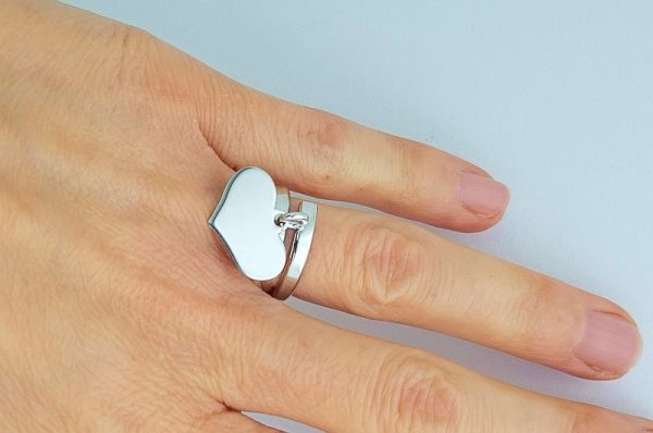 Srebrn ženski prstan, srce, nastavljiva velikost