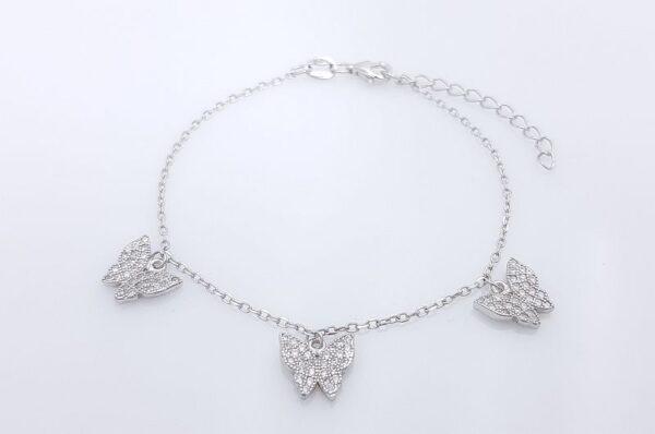 Srebrna ženska zapestnica, metulji s cirkoni