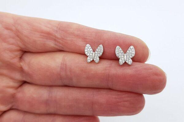 Srebrni ženski uhani s cirkoni, metulj