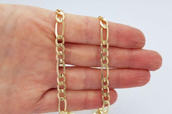 Moška verižica iz rumenega zlata, figaro vzorec