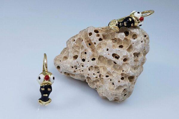 Moški ali ženski uhani iz rumenega zlata, zamorčki