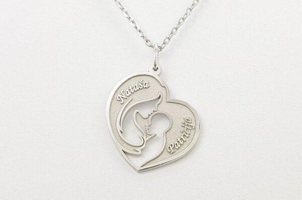 Srebrna ženska verižica, mamica in otrok v srcu
