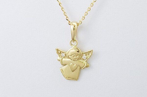 Otroški ali ženski obesek iz rumenega zlata, angel s cirkoni