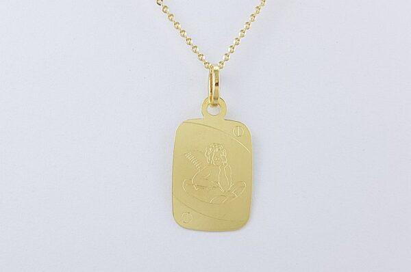 Otroški obesek iz rumenega zlata, pravokotna ploščica z angelom