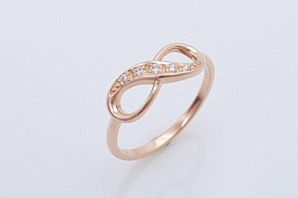 Ženski prstan iz rdečega zlata, neskončnost s cirkoni