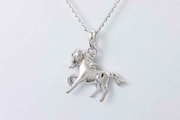 Ženski obesek iz belega zlata, konj s cirkoni