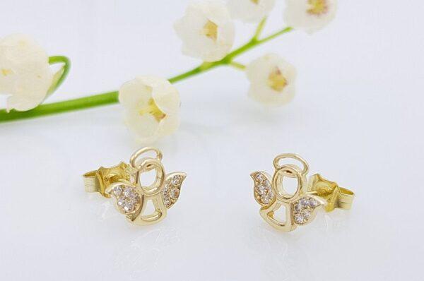 Otroški uhani iz rumenega zlata, angel s cirkoni