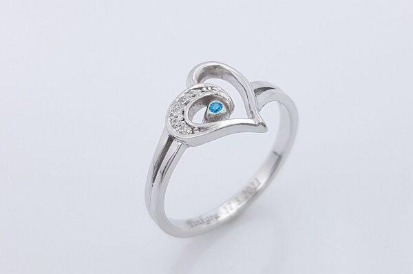 Srebrn ženski prstan s cirkoni, srce