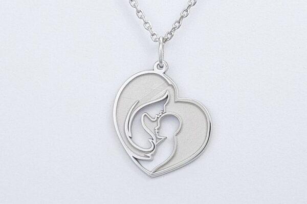 Srebrna ženska verižica mamica in otrok v srcu