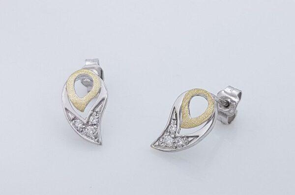 Ženski uhani iz belega in rumenega zlata, kapljica s cirkoni