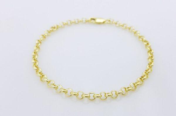 Moška ali ženska zapestnica iz rumenega zlata, okrogli anker
