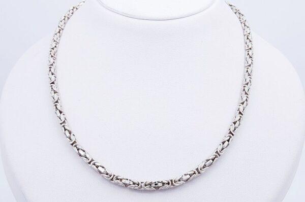 Moška ali ženska ogrlica iz belega zlata, kraljevi vez