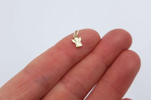 Otroški obesek iz belega zlata, mini angel moli