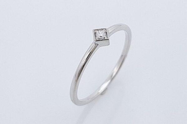 Zaročni prstan iz belega zlata s cirkonom, kvadrat