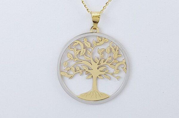 Ženski obesek iz rumenega in belega zlata, drevo življenja 17 mm