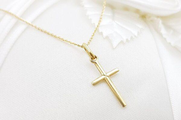 Otroški obesek iz rumenega zlata, tanek križ