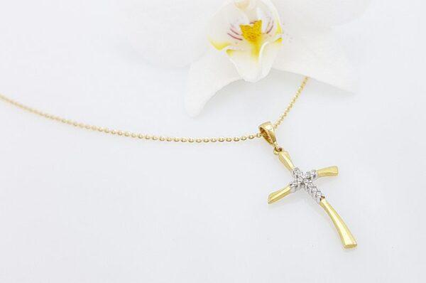 Ženski obesek iz rumenega zlata, križ s cirkoni