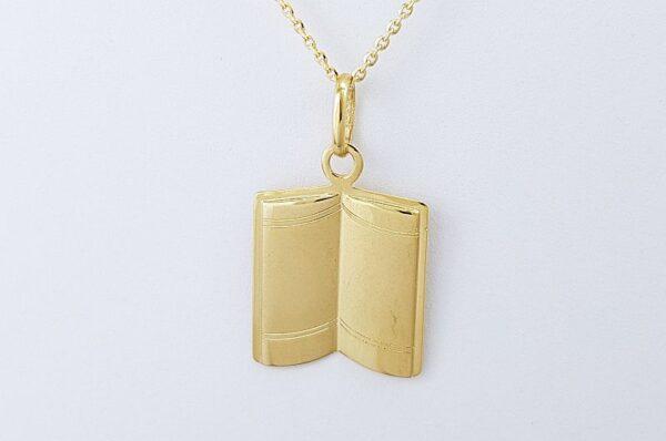Ženski obesek iz rumenega zlata | ploščica, odprta knjiga